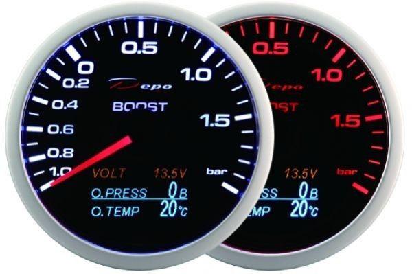 DEPO óra, műszer WA 60mm - 4in1 Turbo, Töltés, Olajnyomás, Olajhőmérséklet